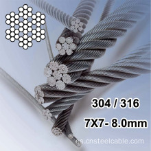 Cable de acero inoxidable AISI316 7X7 Dia.8.0mm